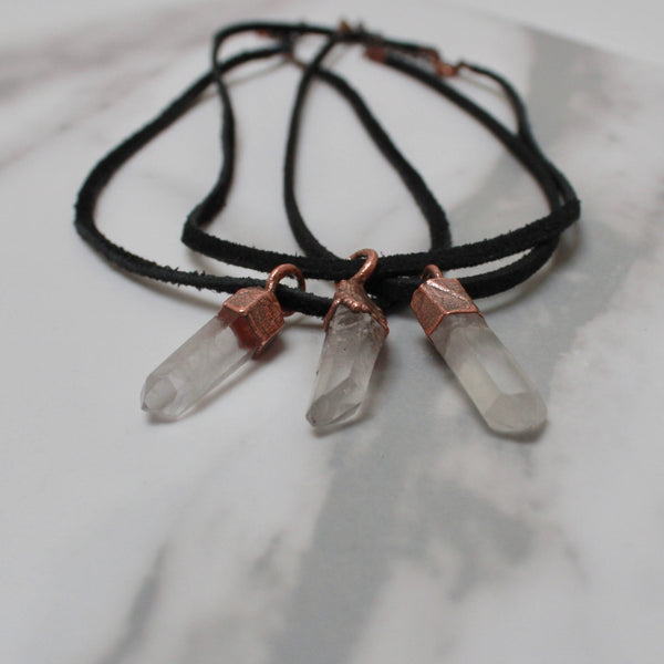 Quartz Point Choker | Leather Pendant Necklace