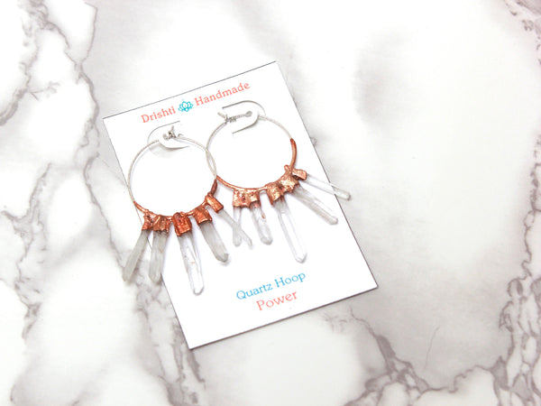 Quartz Hoop Earrings | Raw Crystal Quartz Point