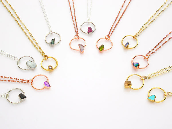 Birthstone Necklace | Circle Pendant Design