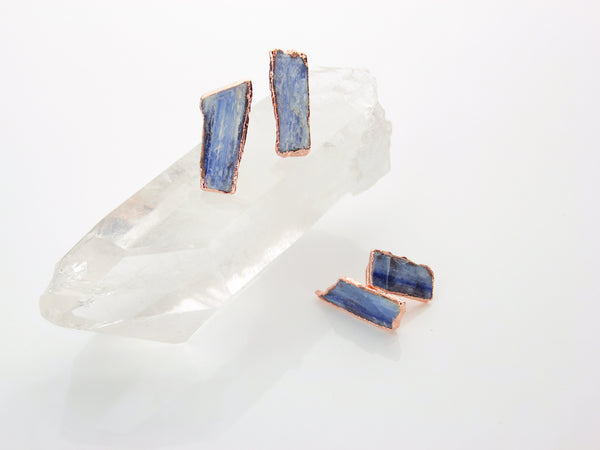 Small Kyanite Earring | Raw Crystal Earring-Earring-Drishti Handmade
