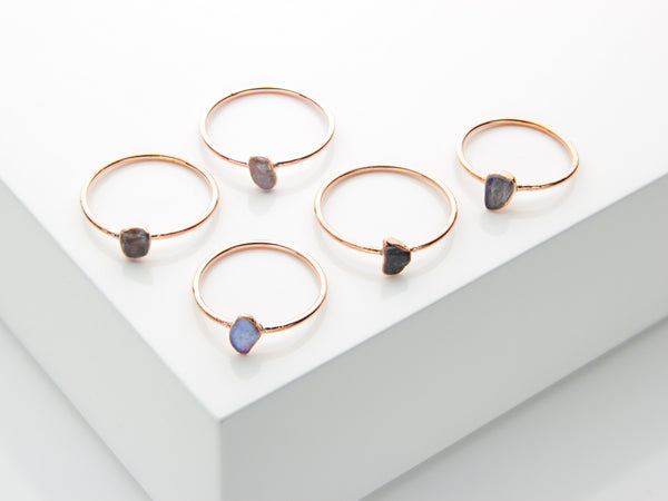 Labradorite Ring | Raw Crystal Stacking Ring-Ring-Drishti Handmade
