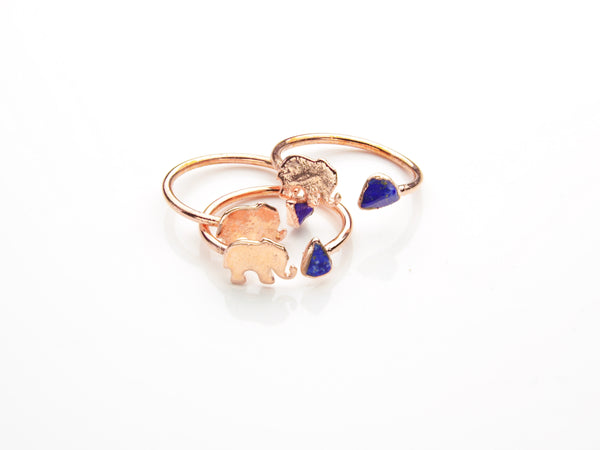 Lapis Lazuli Ring | Elephant | Open Copper Ring-Ring-Drishti Handmade