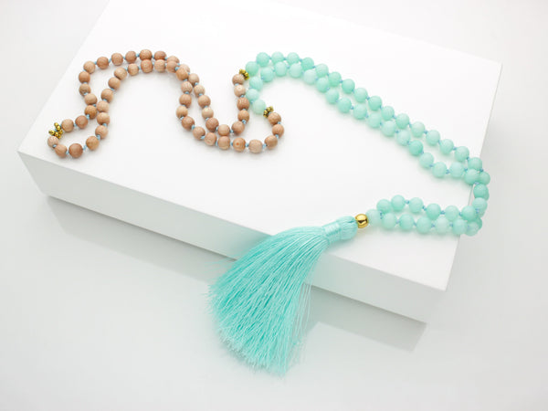 Amazonite Mala | 108 Mala Bead | Prayer Bead Necklace-Mala-Drishti Handmade