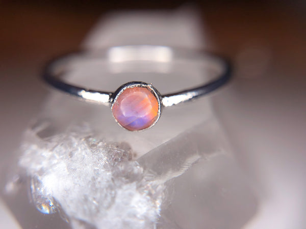 Tiny Moonstone Stacking Ring | Rhodium Band-Ring-Drishti Handmade