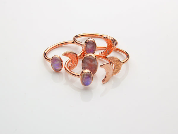 Moonstone Ring | Moon | Open Copper Ring-Ring-Drishti Handmade