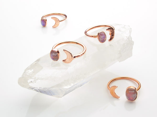 Moonstone Ring | Moon | Open Copper Ring