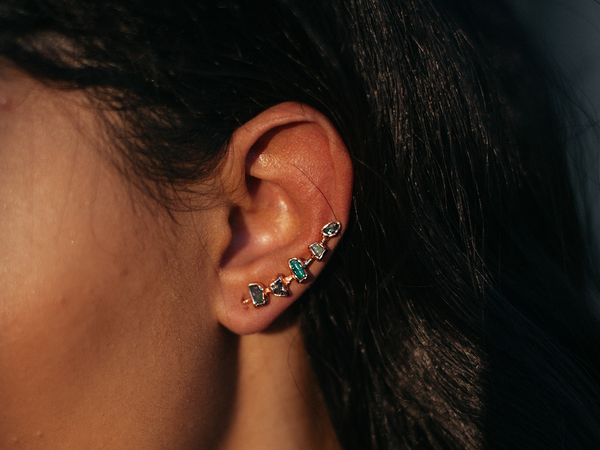 Opal Ear Climbers | Raw Opal Earrings