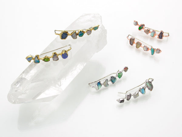 Opal Ear Climbers | Raw Opal Earrings-Earring-Drishti Handmade
