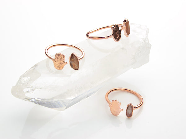 Pecos Diamond Ring | Hamsa | Open Copper Ring-Ring-Drishti Handmade