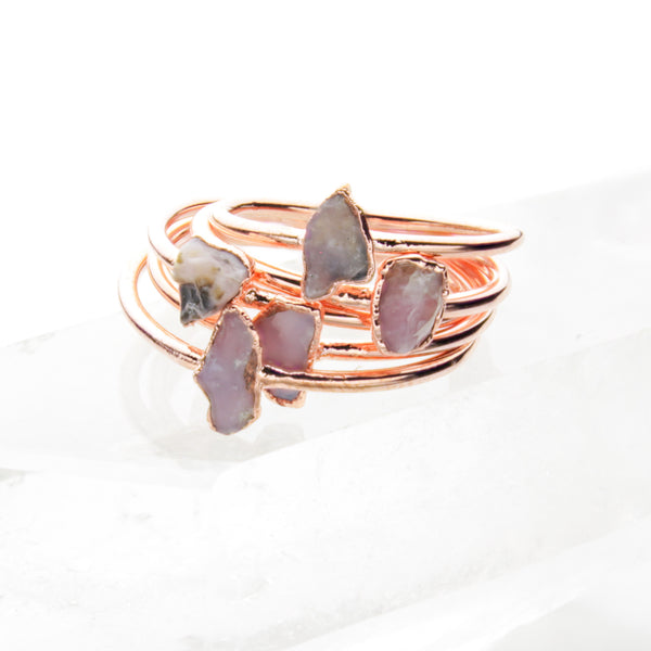 Pink Opal Ring | Raw Crystal Stacking Ring-Ring-Drishti Handmade