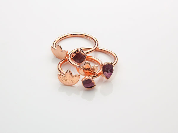 Pink Tourmaline Ring | Lotus | Open Copper Ring-Ring-Drishti Handmade