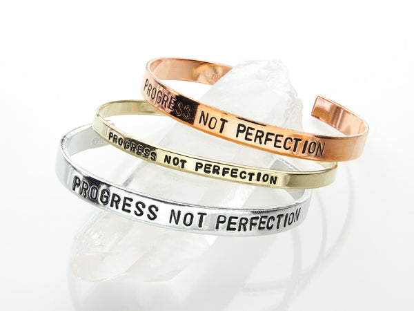 Progress Not Perfection | Hand Stamped Cuff-Cuff-Drishti Handmade