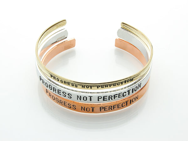 Progress Not Perfection | Hand Stamped Cuff