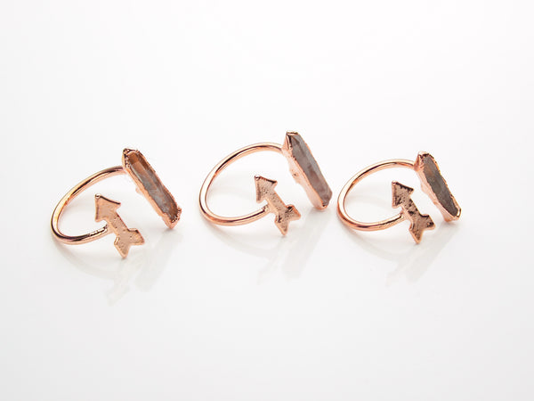 Quartz Ring | Arrow | Open Copper Ring-Ring-Drishti Handmade