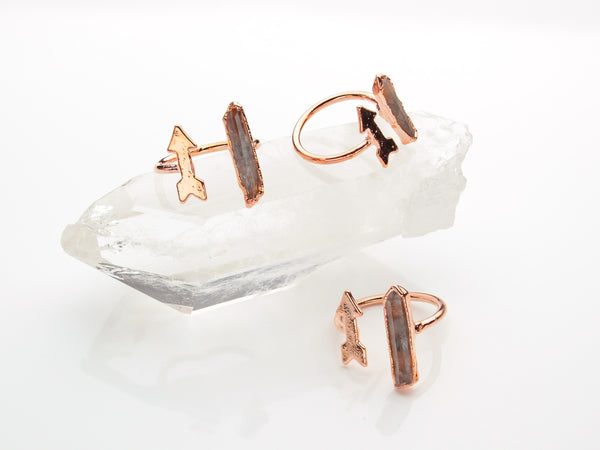 Quartz Ring | Arrow | Open Copper Ring