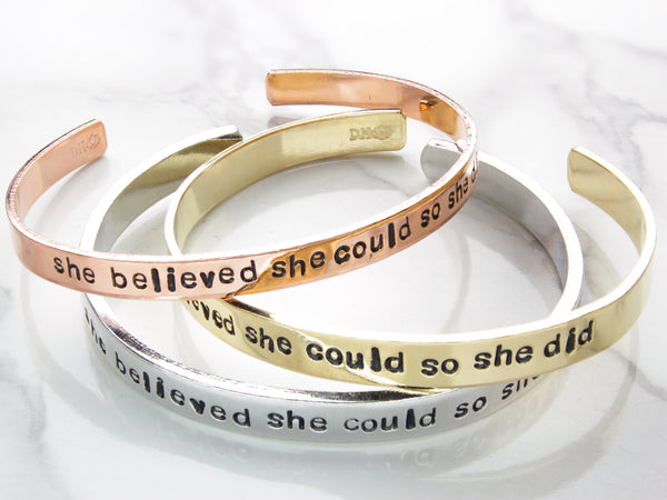 She Believed, You Go Girl, Yass Queen | Hand Stamped Cuff-Cuff-Drishti Handmade