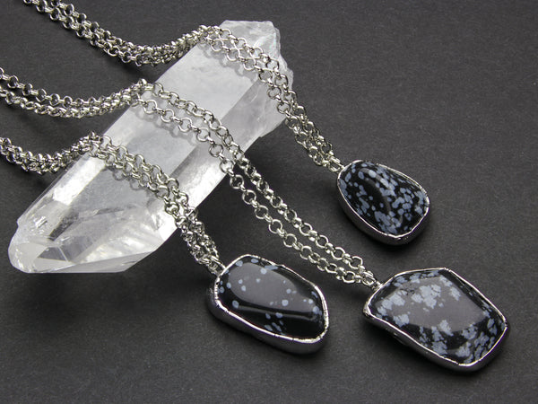 Snowflake Obsidian Necklace | Limited Run-Necklace-Drishti Handmade