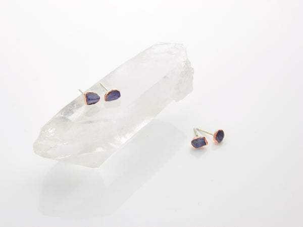 Tanzanite Earrings | Raw Crystal Stud Earrings-Earring-Drishti Handmade