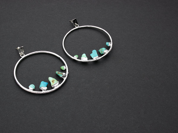 Turquoise Hoop Earrings | OOAK