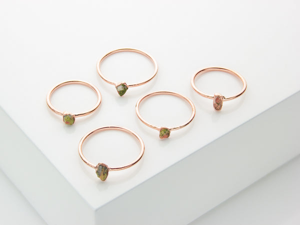 Unakite Ring | Raw Crystal Stacking Ring-Ring-Drishti Handmade