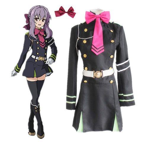 Seraph Of The End Owari no Seraph Hiiragi Shinoa Uniform Cosplay Costume ( Dress + Belt + Necktie + Armband + String + Headwear)