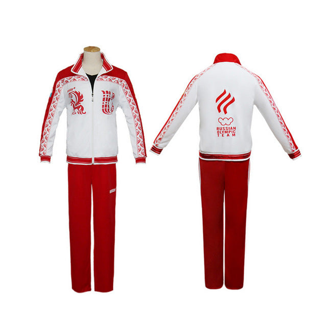 Yuri on Ice Cosplay Wigs Sportswear Victor Nikiforov Red Jacket Clothes Men Adult Tops Pants Set - Geeks-ter
