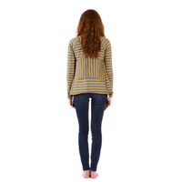 back of womens striped cardigan