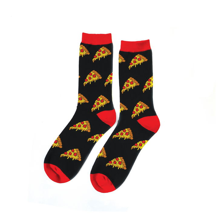 Pizza Slice Socks - Black/Red