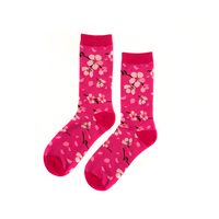 Midnight Sakura Socks - Magenta/Pink