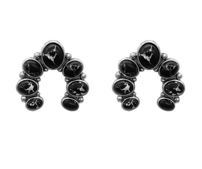 0022BOS Fashion Earrings Barnard Naja Post Earrings - Black