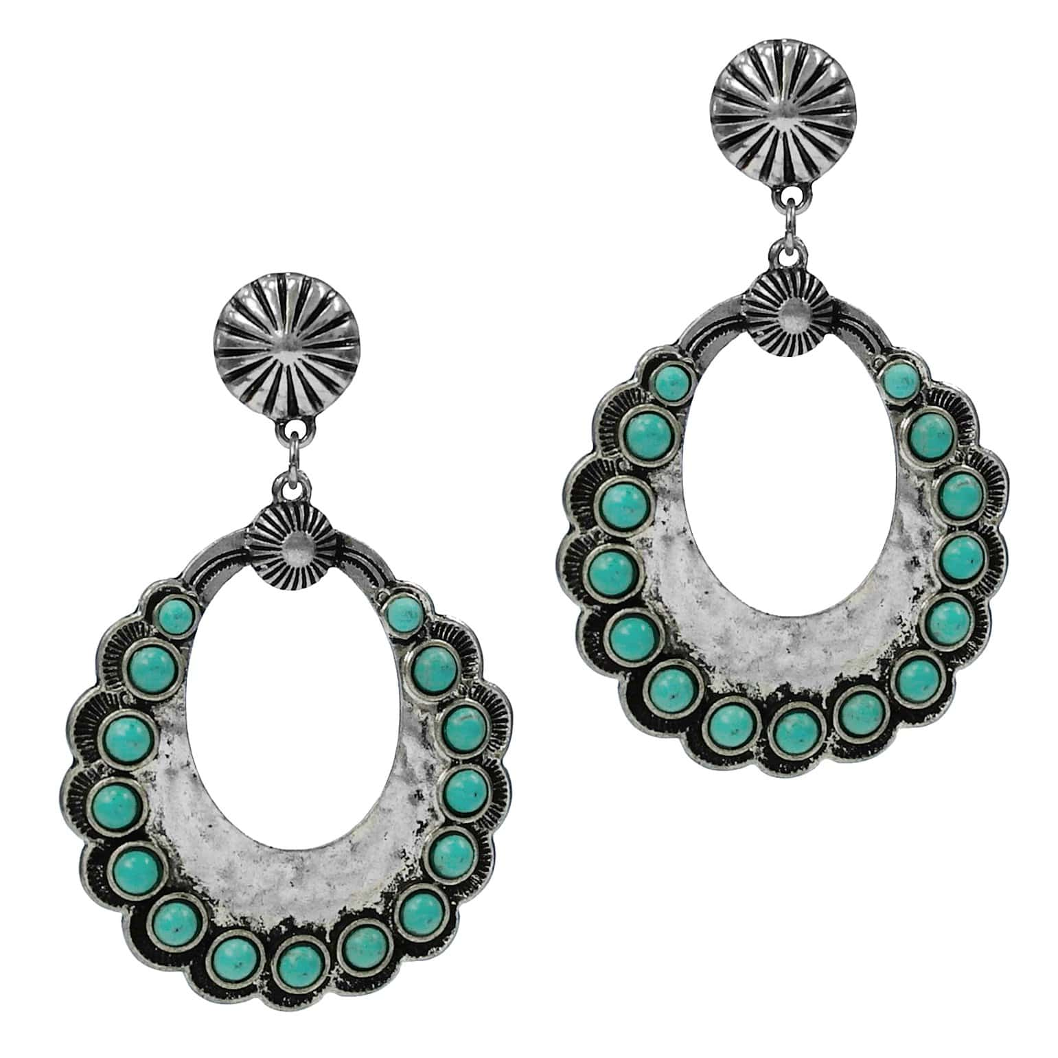 0022BOS Fashion Earrings Dakota Fashion Turquoise Silver Teardro Earrings