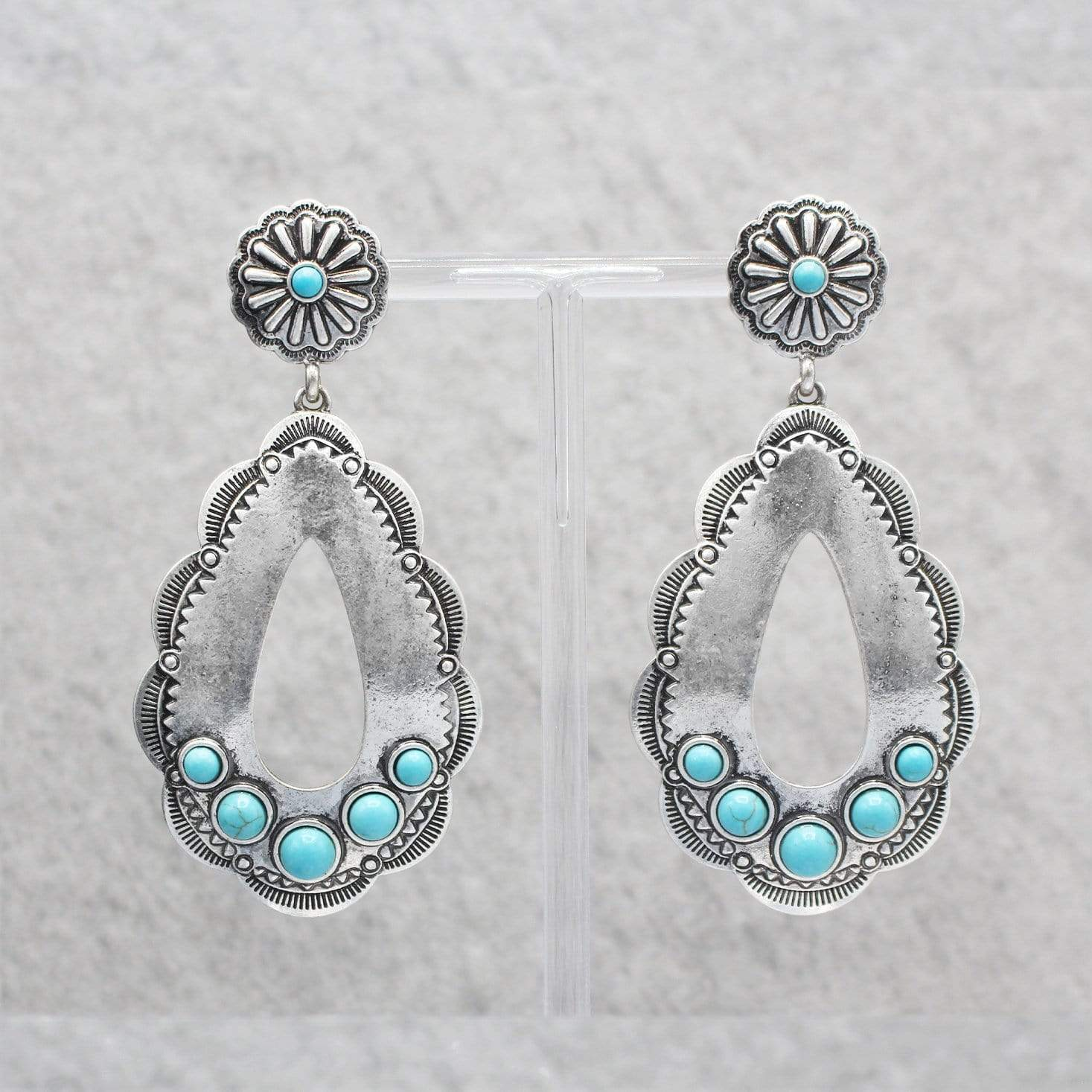 0022BOS Fashion Earrings Darla Fashion Silver Teardrop Earrings