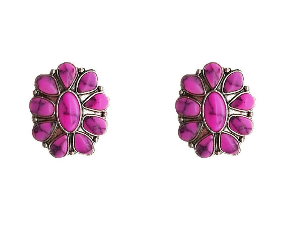 0022BOS Fashion Earrings Fashion Cluster Post Earrings - Pink