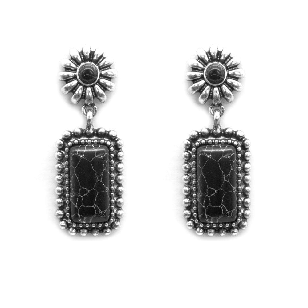 Midland Concho Drop Fashion Earrings - Black