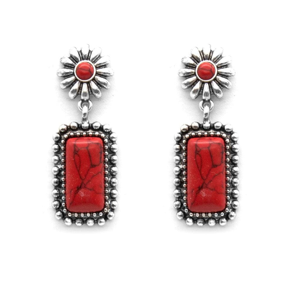 Midland Concho Drop Fashion Earrings - Red