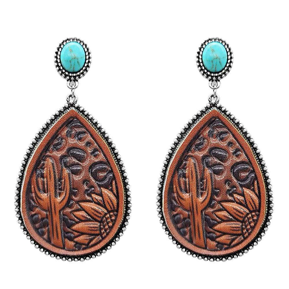 0022BOS Fashion Earrings Tooled Leather Turquoise Fashion Earrings