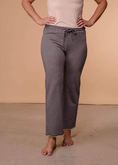 Accessorize In Style Capris Grey Studded Pants