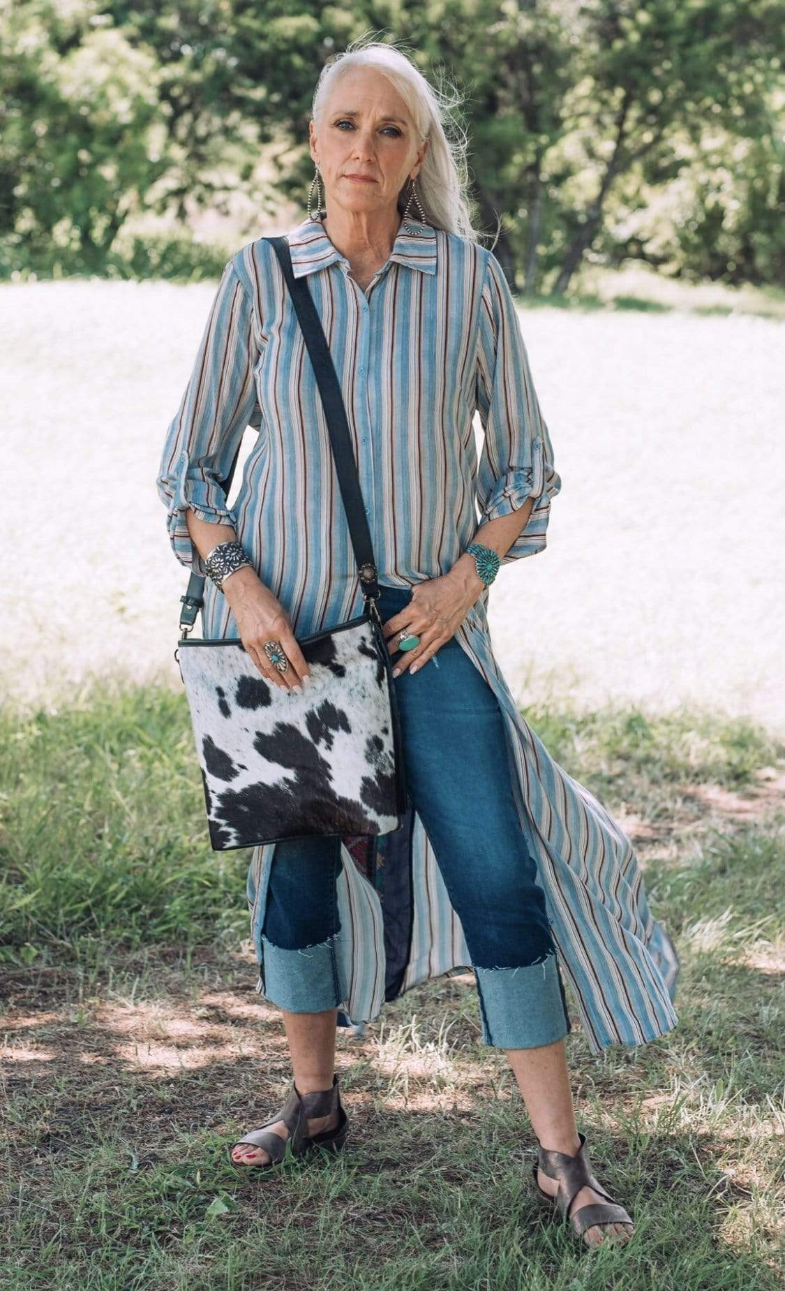 Accessorize In Style Cardigans Andree Blue Stripe Duster