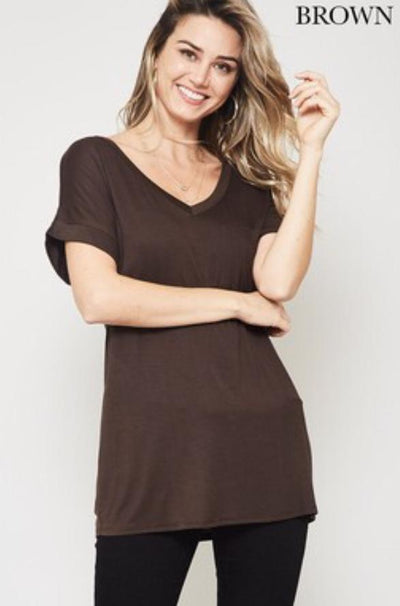 Accessorize In Style Casual S / Brown Pocket V Neck Boyfriend Tee