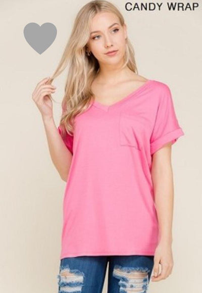 Accessorize In Style Casual S / Candy Wrap Pocket V Neck Boyfriend Tee