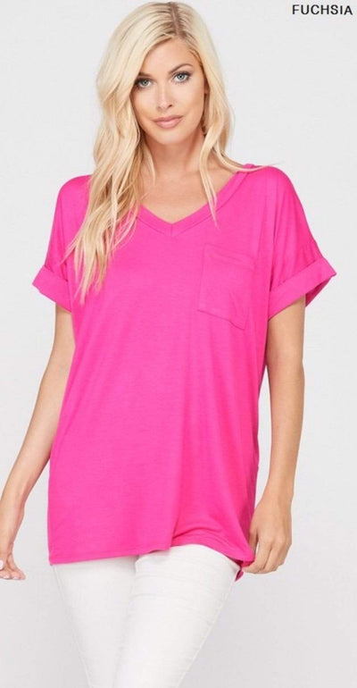 Accessorize In Style Casual S / Fuschia Pocket V Neck Boyfriend Tee