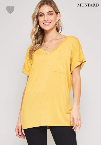 Accessorize In Style Casual S / Mustard Pocket V Neck Boyfriend Tee