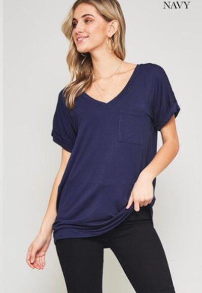 Accessorize In Style Casual S / Navy Pocket V Neck Boyfriend Tee