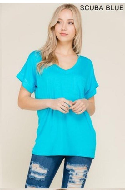 Accessorize In Style Casual S / Scuba Blue Pocket V Neck Boyfriend Tee