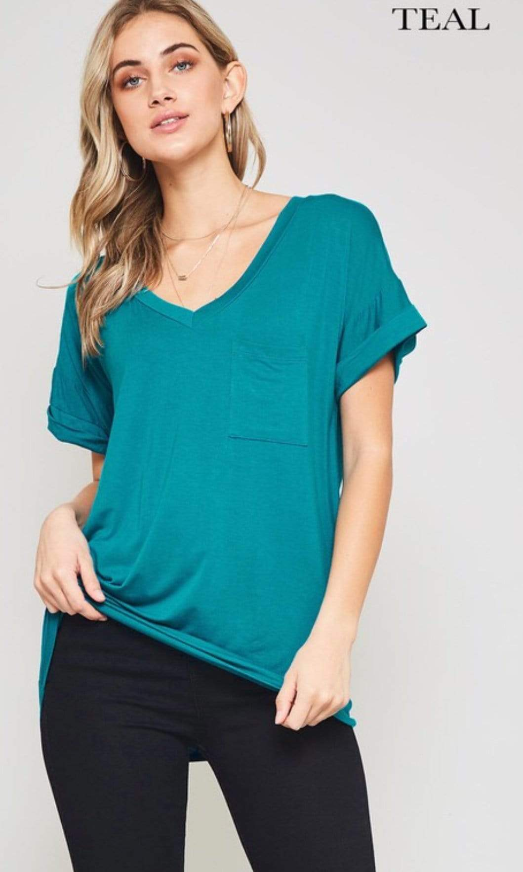 Pocket V Neck Boyfriend Tee