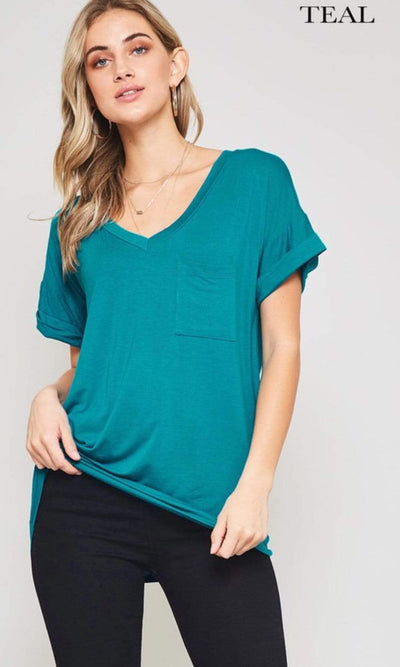 Accessorize In Style Casual S / Teal Pocket V Neck Boyfriend Tee