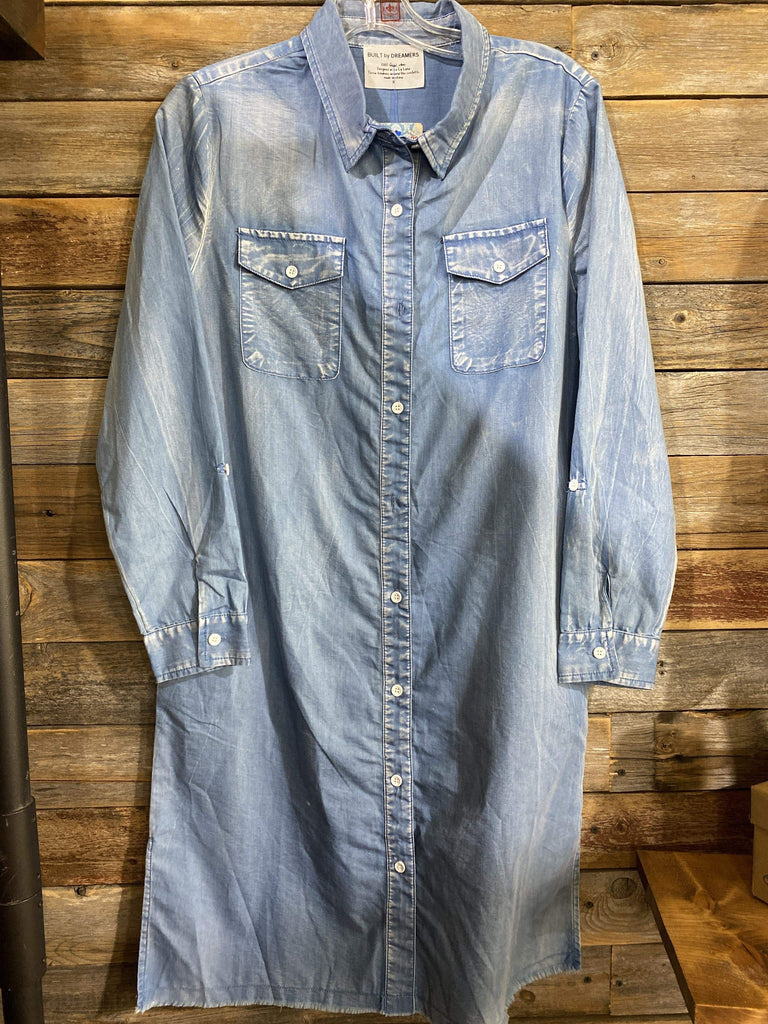 Accessorize In Style Dresses Light Wash Denim Button Down Dress