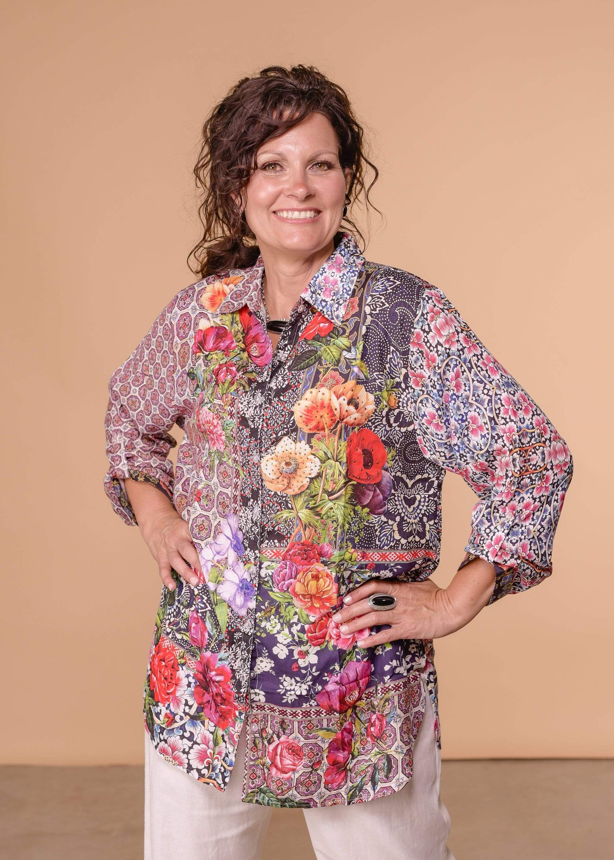 Accessorize In Style Dressy AIS Collared Blouse - Purple Floral