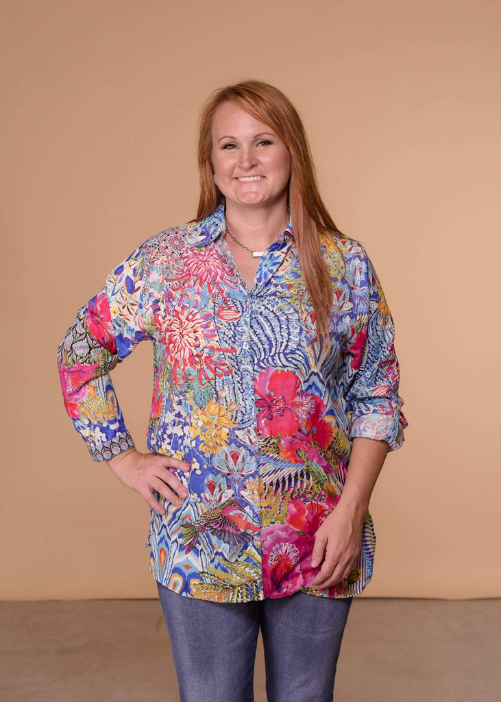 Accessorize In Style Dressy AIS Collared Blouse - Turquoise Pink Hydrangea Top