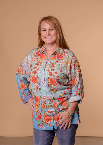 Accessorize In Style Dressy AIS Turquoise Tangerine Floral Blouse